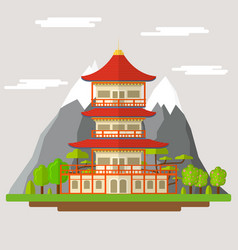 Cartoon japanese temple vector