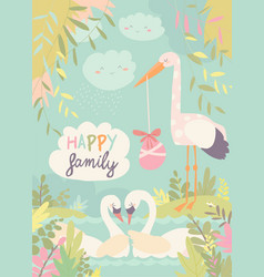 Cartoon swans in love and stork with baby vector