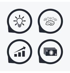 Chart with arrow brainstorm Cash money vector image