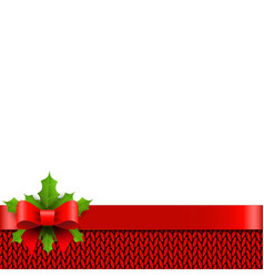 Christmas background with bow and holly berries vector image vector image