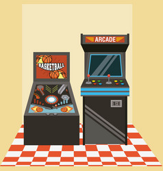 Classic arcade video game machines vector