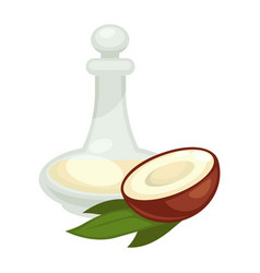 coconut oil in bottle flat isolated icon vector image