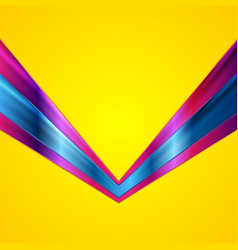 Colorful glossy tech arrows on yellow background vector