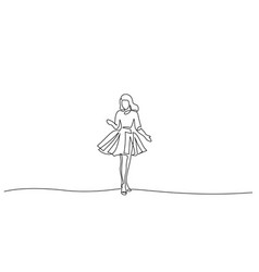 continuous one line drawing girl in festive dress vector image