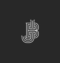 creative logo jb or bj initials logo monogram vector image