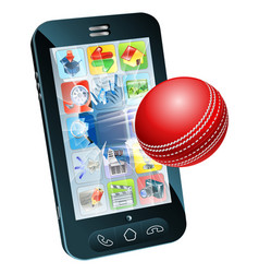 Cricket ball flying out mobile phone vector