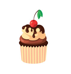 Cupcake with cream chocolate and fresh cherry vector