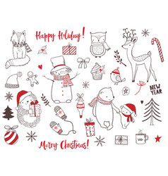 Cute christmas animals and elements set vector