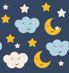 cute star cloud and moon seamless pattern vector image