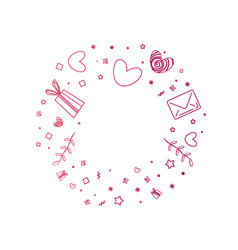 Decorative circle with gifts heart stars mails vector