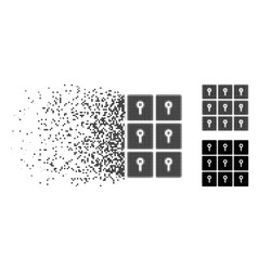 Dispersed dotted halftone lockers icon vector