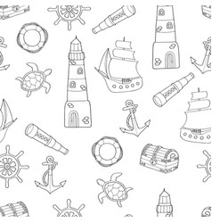 Doodle seamless pattern on marine theme vector