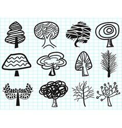 doodle tree icons vector image vector image