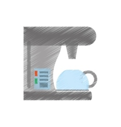 Drawing coffee machine appliance kitchen vector