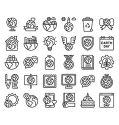 Earth day related icon set 2 line style vector