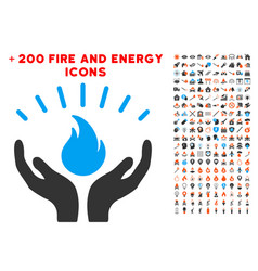 Fire care hands icon with bonus energy clipart vector