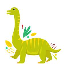Flat isolated cartoon dinosaur vector