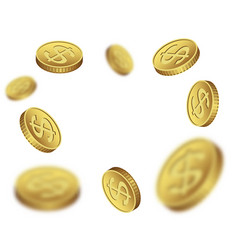 flying dollar coins on a white background vector image