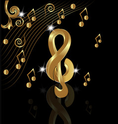 gold musical note on black background vector image