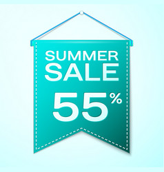 Green pennant with summer sale fifty five vector