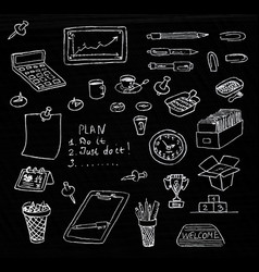 hand drawn business icons set in chalkboard vector image