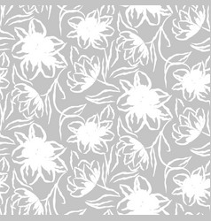 Hand drawn gray flower seamless pattern vector