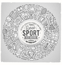 hand drawn set sport cartoon doodle vector image
