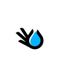 hand gesture water drop logo icon vector image
