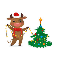happy new year cute cow decorating vector image