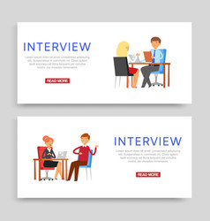 interview inscription on banner set business vector image
