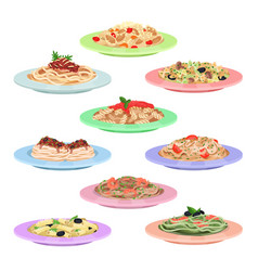 Italian pasta set spaghetti dishes on plates vector