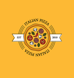 italian pizza logo or emblem on orange background vector image vector image