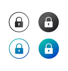 lock safety sign padlock icon set in circle vector image