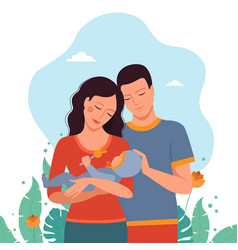 Mom and dad together with a child vector