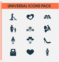 Mothers day icon design concept set of 12 such vector