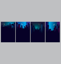 night city skyscrapers silhouettes skyline set vector image