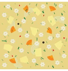 Noodle and vegetable soup seamless pattern vector image