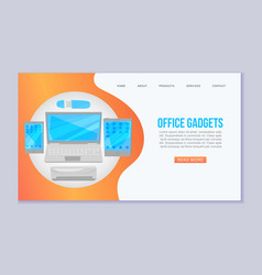 office gadgets web banner template vector image