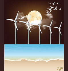 Offshore wind turbines at night vector