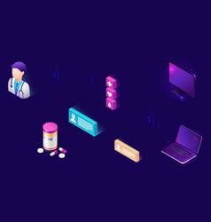 online medicine isometric icons telemedicine vector image