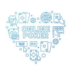 Online poker concept blue heart shape vector