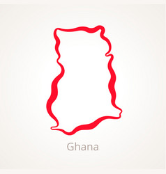 outline map of ghana marked with red line vector image