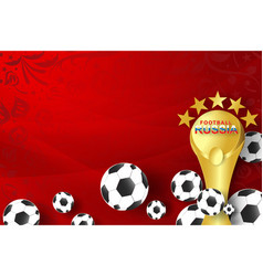 paper art of world russian red soccer 2018 vector image