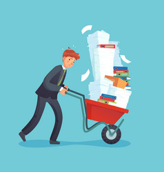 paper work cart overworked office worker vector image