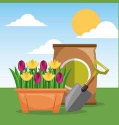 Potted flowers shovel and fertilizer garden sun vector