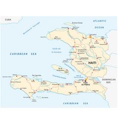 republic of haiti road map vector image