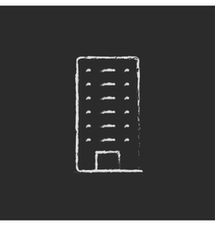 Residential building icon drawn in chalk vector image
