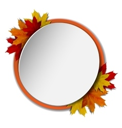 Round banner with autumn leaves vector image