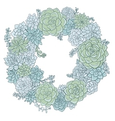 Round wreath with succulentes vector
