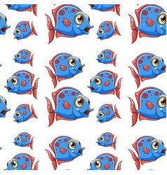 seamless pattern tile cartoon with blue fish vector image